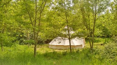 Eco glamping in Somerset with Bell tents at Woodland Escape