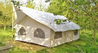 Glamping for 6 people with our Canvas Lodge at Woodland Escape in Somerset