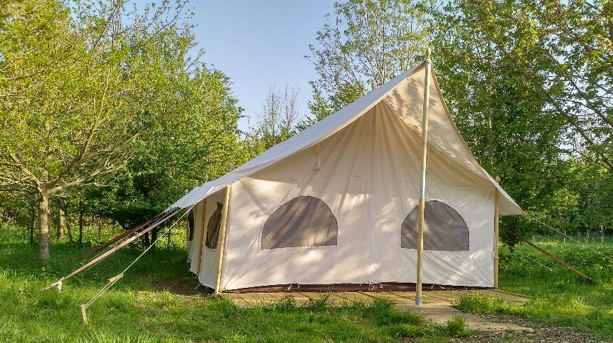 The canvas glamping lodge at Woodland Escape in Somerset