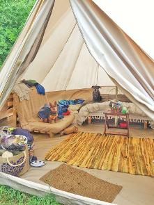 Glamping with dogs in a Bell tent at Woodland Escape in Somerset
