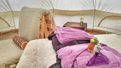 Inside the Drake Bell tent at Woodland Escape in Somerset