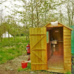 Washing up hut at Woodland Escape in Somerset