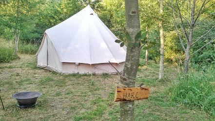 Hare Bell tent glamping in Somerset at Woodland Escape