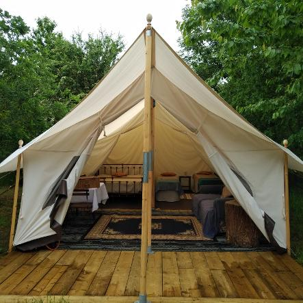 Glamping for 6 in our Canvas Lodge at Woodland Escape