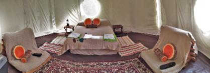 Inside a glamping Yurt at Woodland Escape in Somerset, welcoming group bookings of all types