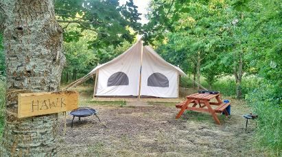 Glamping for 6 people in our Canvas Lodge in Somerset at Woodland Escape