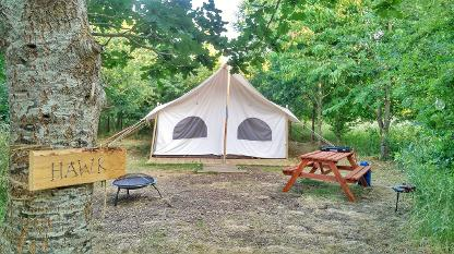 Hawk, the glamping Canvas Lodge at Woodland Escape in Somerset