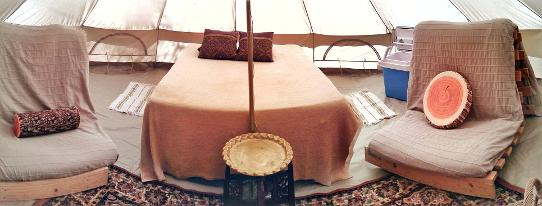 Interior view of one of our ecoglamping bell tents at Woodland Escape Glamping in Somerset