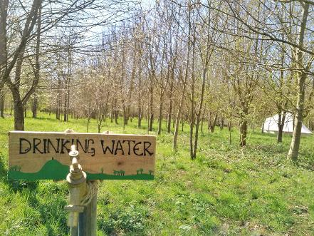 Drinking water tap at Woodland Escape glamping in Somerset