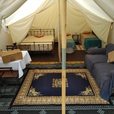 Inside the glamping Canvas Lodge at Woodland Escape in Somerset