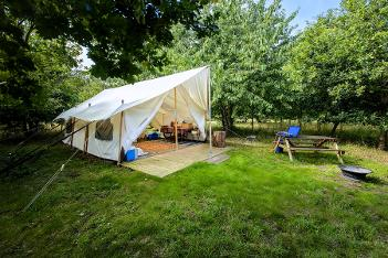Canvas Lodge glamping in Somerset at Woodland Escape